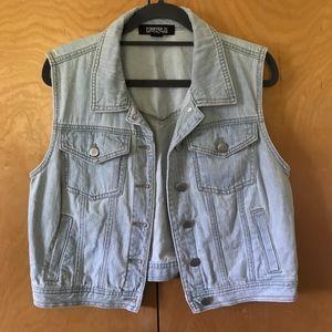 EUC Large Light Wash Forever 21 Jean Vest